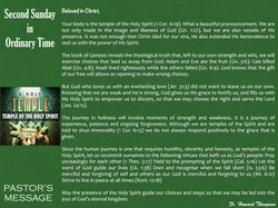 Pastor's Message - 147 Second Sunday in