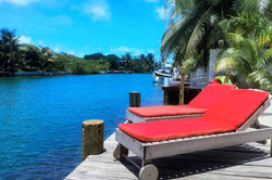 Comfy loungers on dock
