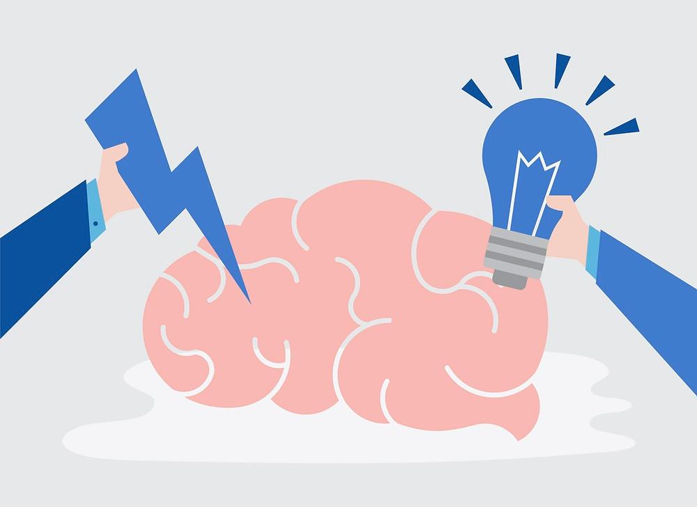 mindful brain with idea bulb