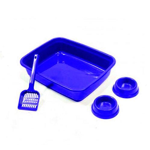 Kit para Gatos com comedouro e bebedouro Azul