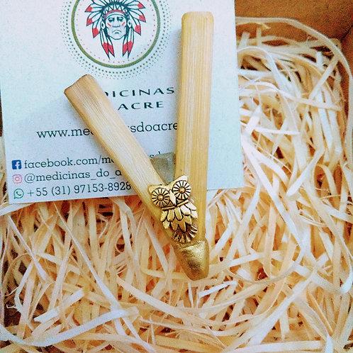 Kuripe Bambu Coruja com Cristal