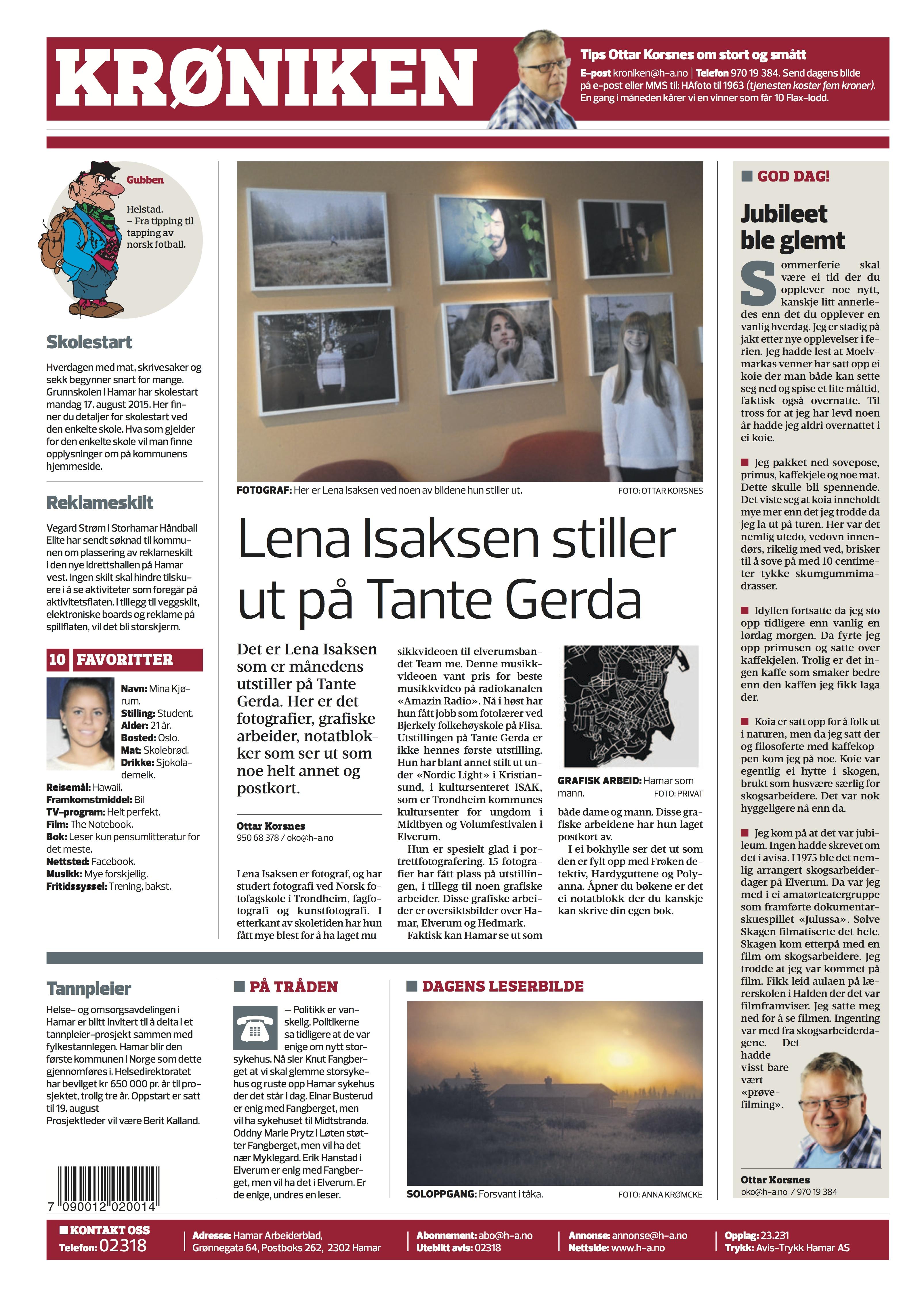 I Hamar Arbeiderblad
