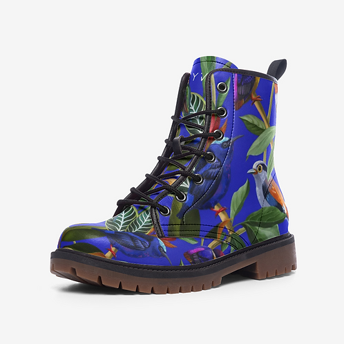 Birds in Rainforest on Blue Vegan Leather Combat Boots