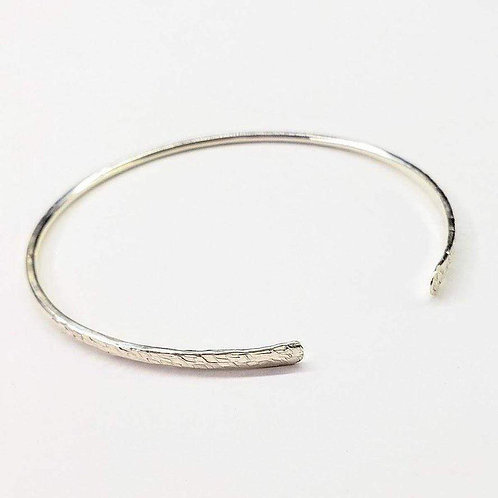 Hammered Silver Open Bangle