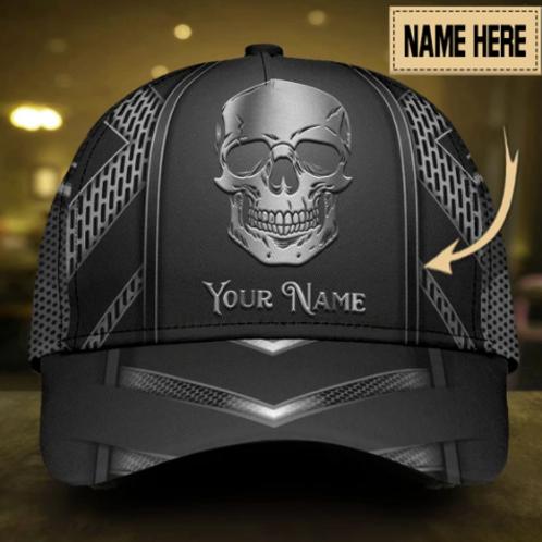 Custom Skull Sliver Pattern Classic Cap Personalized Name
