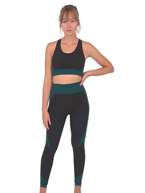 Trois Seamless Leggings & Sports Top 2 Set - Black With Teal Blue