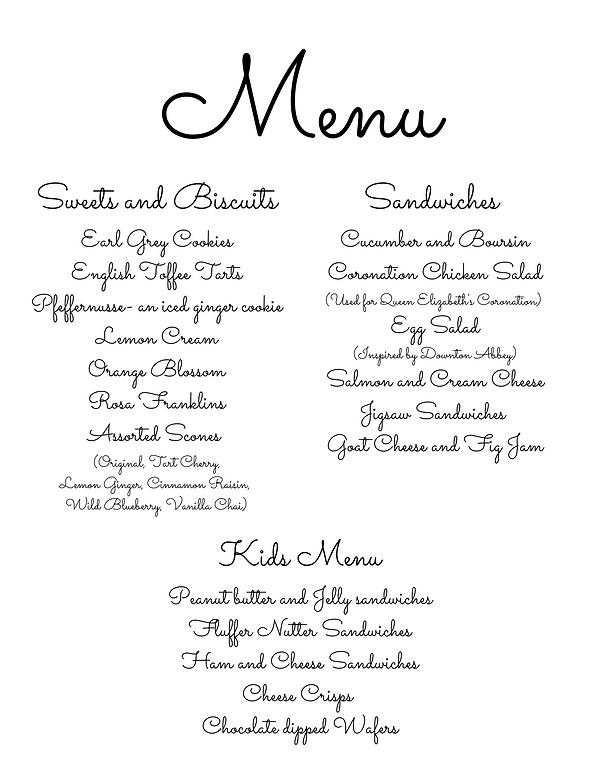 Cursive writing listing the menu items we offer