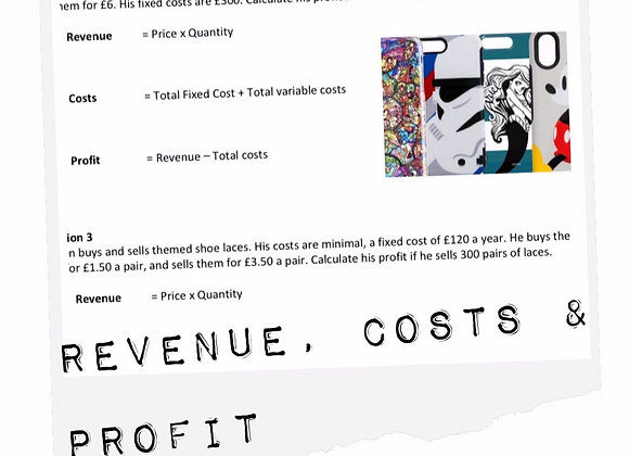 Topic resources: Revenue, costs & profit