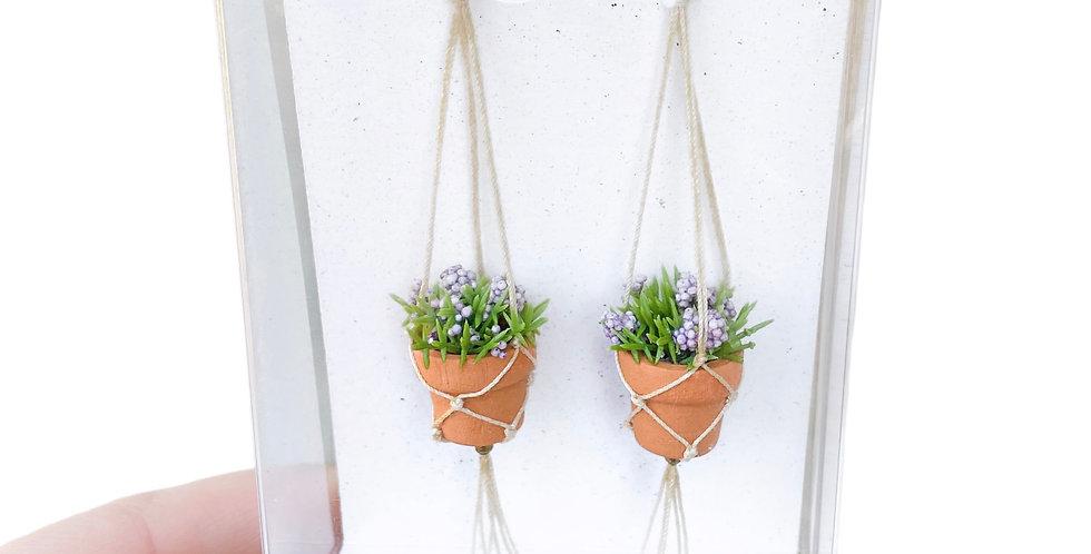 Lavender Plant Earrings