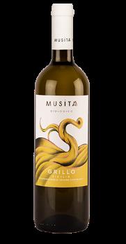 Fles witte wijn Musita Grillo