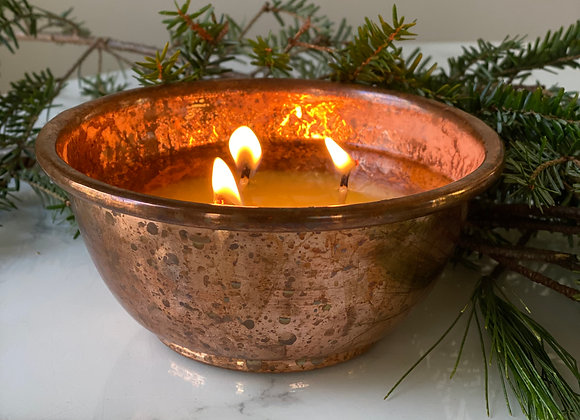 Winter ☐ Solstice hand-poured soy wax candle in copper