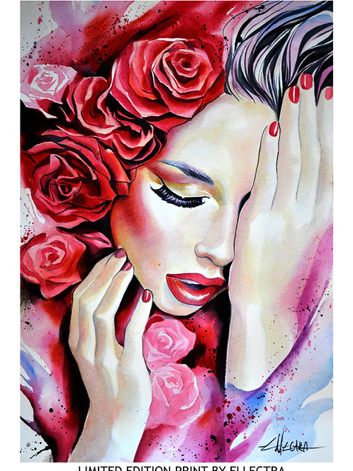 LIMITED EDITION PRINT BY ELLECTRA - RUBY RED ROSES