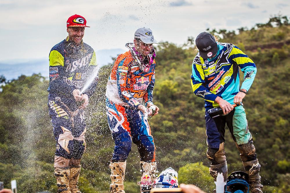 Graham Jarvis, Alfredo Gomez, Paul Bolton celebrate at Red Bull Minas Riders in Belo Horizonte, Minas Gerais, Brazil on April 20, 2016