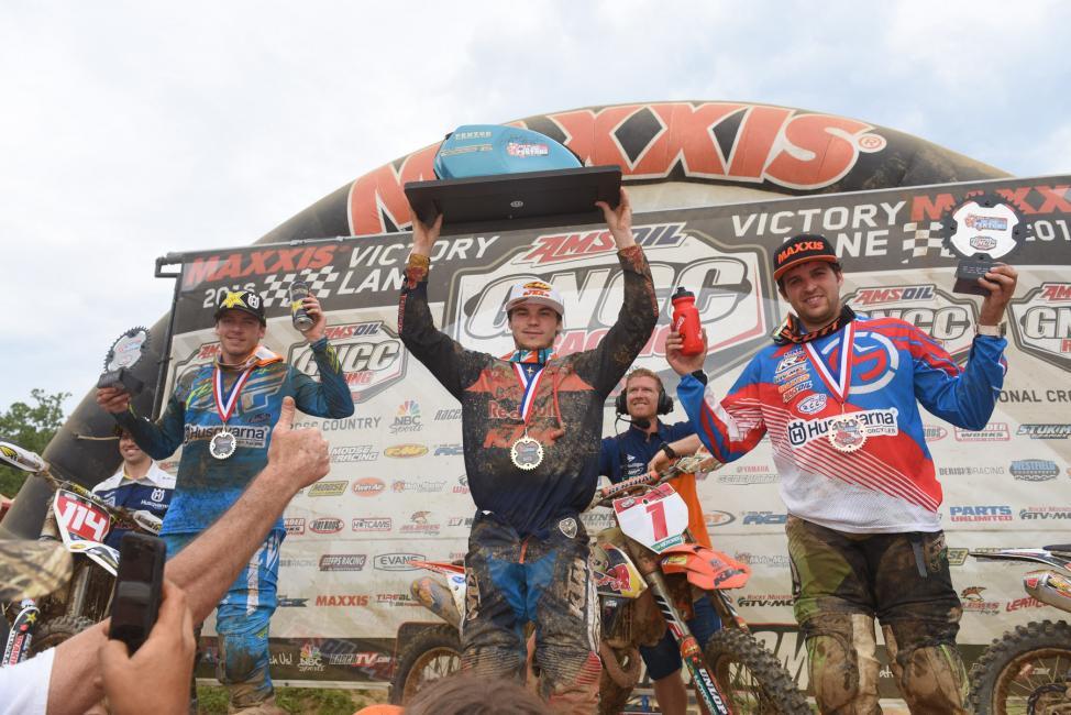 Overall Podium: (2) Josh Strang, (1) Kailub Russell, (3) Thad Duvall.Photo: Ken Hill