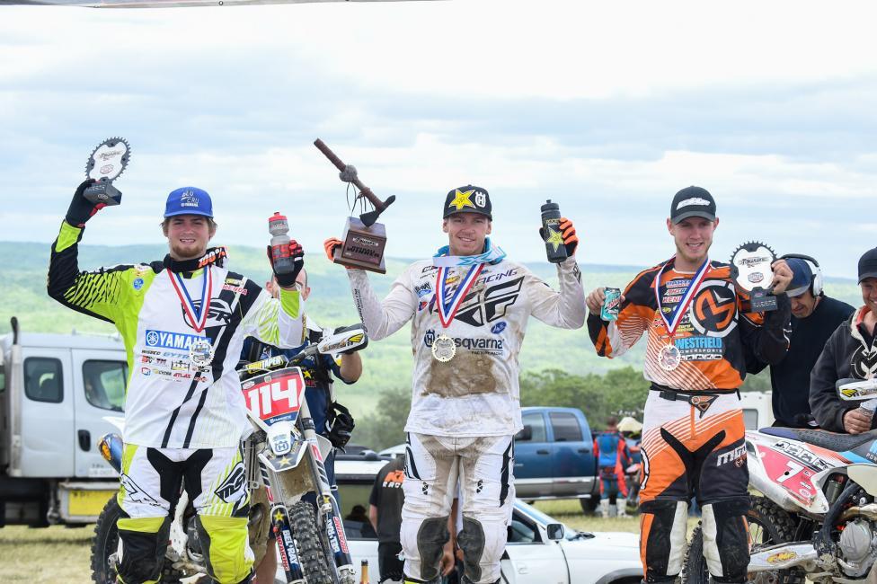 Overall Podium: (2) Grant Baylor, (1) Josh Strang, (3) Jordan Ashburn.Photo: Ken Hill