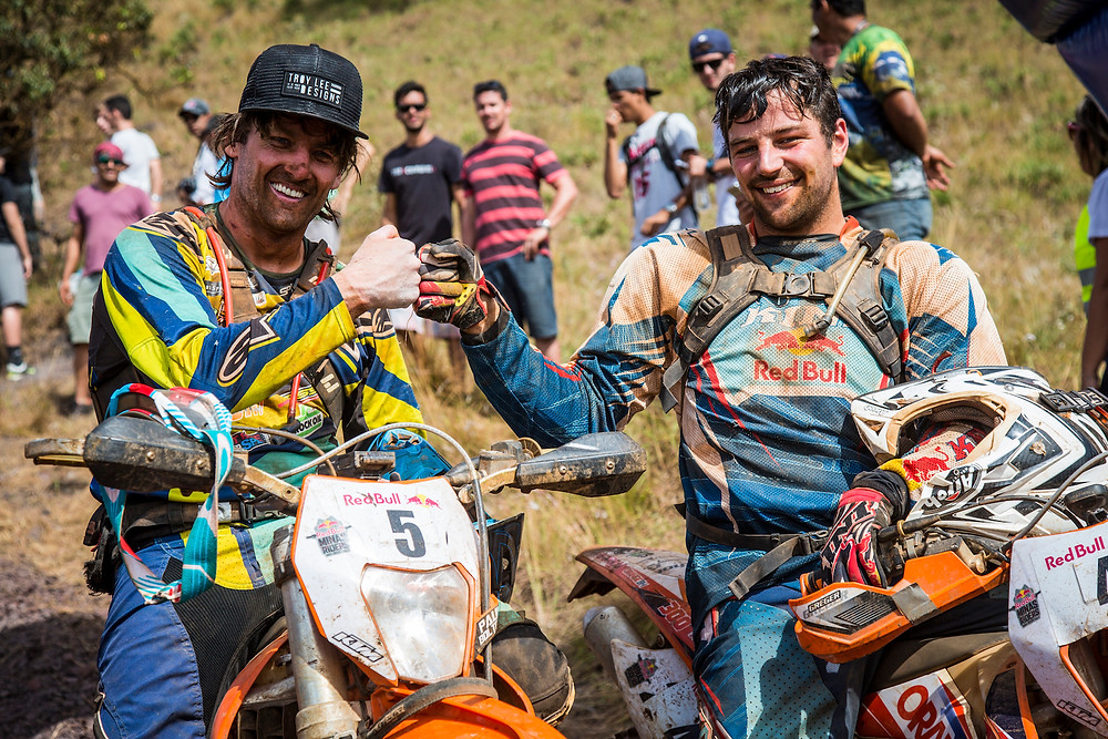 Paul Bolton and Philipp Scholz pose for a portrait at Red Bull Minas Riders in Belo Horizonte, Minas Gerais, Brazil on April 20, 2016