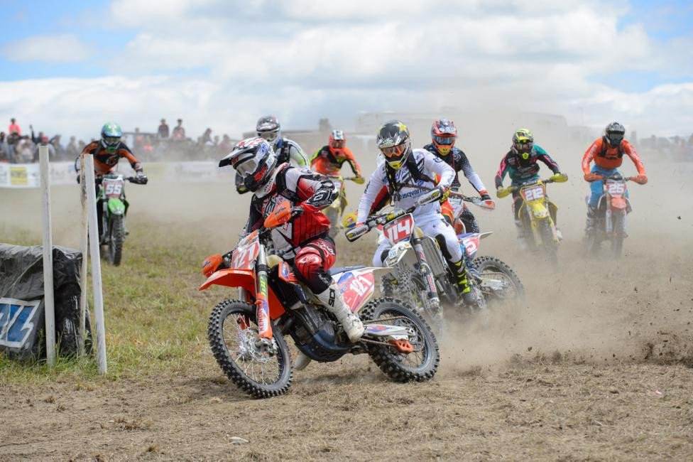 Cory Buttrick jumped out to the early lead claiming the$250 All Balls Racing Holeshot Award.Photo: Ken Hill