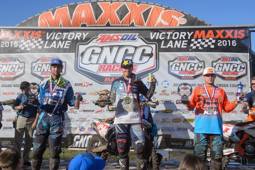 XC1 Podium: (2) Daniel Milner, (1) Josh Strang, (3) Kailub Russell.Photo: Ken Hild