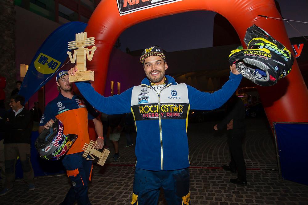 Pablo Quintanilla celebrating his victory in Chile - 2016 Atacama Rally