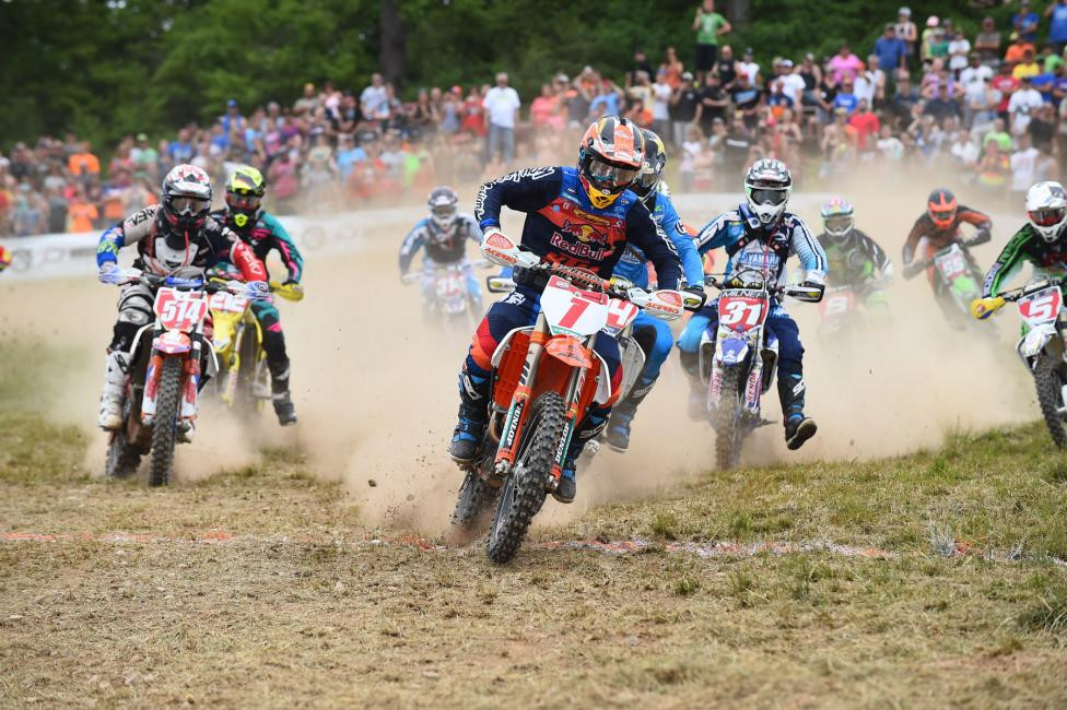 Kailub Russell grabbed the $250  All Balls Racing Holeshot Award.Photo: Ken Hill
