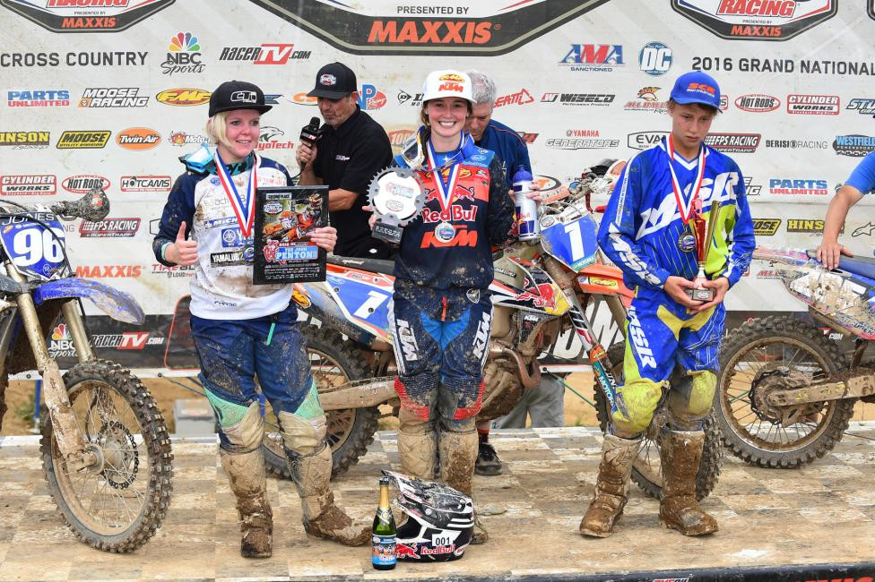 10 a.m. Overall Podium: (2) Tayla Jones, (1) Kacy Martinez, (3) Hayden Vancuren.Photo: Ken Hill