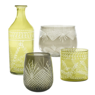 """Sistine Collection Different sizes from 3.75"""" up to 8"""" gray or greenish yellow. Rental: $4 Retail $15ea"""