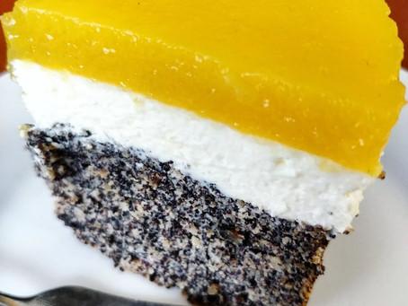 Mohn-Topfen-Mango Torte (glutenfrei)