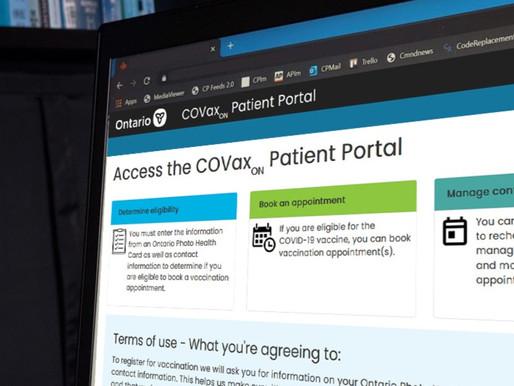 El portal web de vacunación de Ontario estará listo pronto