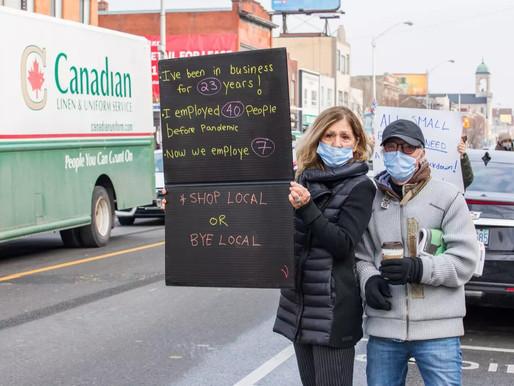 Protesta de propietarios de pequeñas empresas