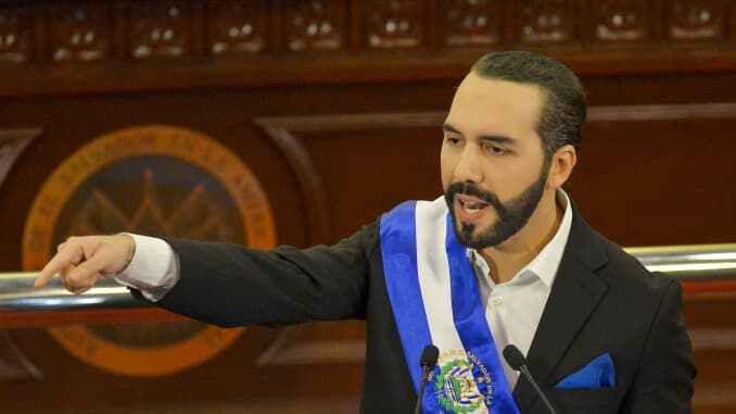 Nayib Bukele, presidente de El Salvador, pronuncia un discurso ante el Congreso en el edificio de la Asamblea Legislativa en San Salvador, El Salvador, el martes 1 de junio de 2021.