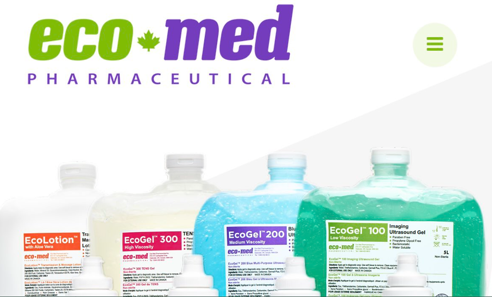Productos farmacéuticos eco-med y gel de ultrasonido.
