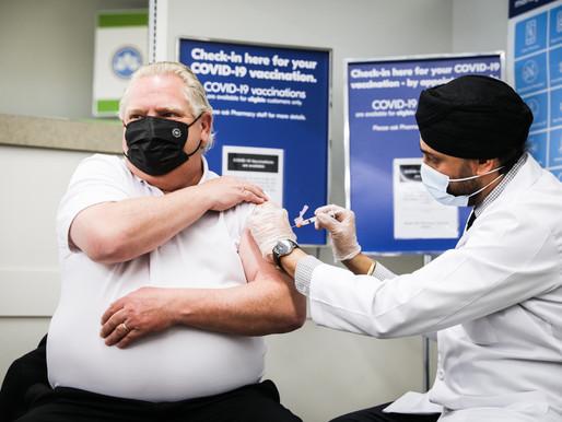 Doug Ford recibió la primera dosis de la vacuna COVID-19 de AstraZeneca