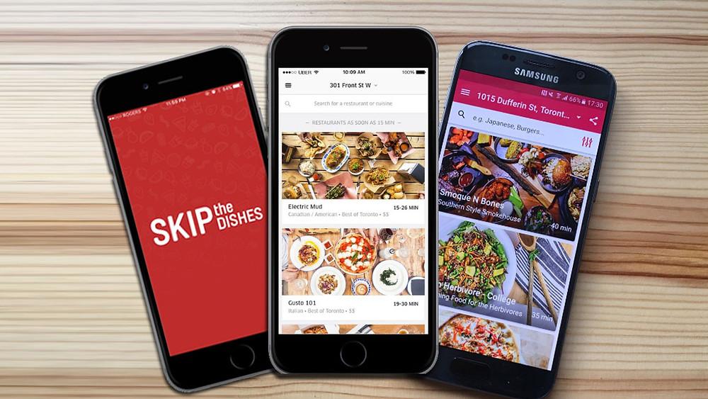 Aplicaciones de entrega de comida Uber Eats, Foodora y Skip The Dishes.