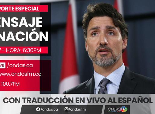 Trudeau se dirigirá a la nación tras discurso del trono