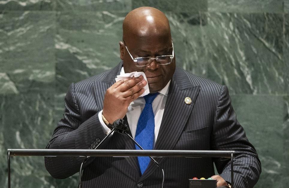 El presidente de la República Democrática del Congo, Felix Antoine Tshisekedi Tshilombo, se dirige al 76º período de sesiones de la Asamblea General de la ONU en la ciudad de Nueva York, Estados Unidos, el 21 de septiembre de 2021.