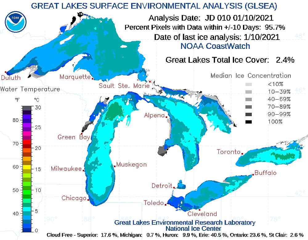 Fuente: Laboratorio de Investigación Ambiental de los Grandes Lagos de la NOAA, Cobertura actual de hielo de los Grandes Lagos.