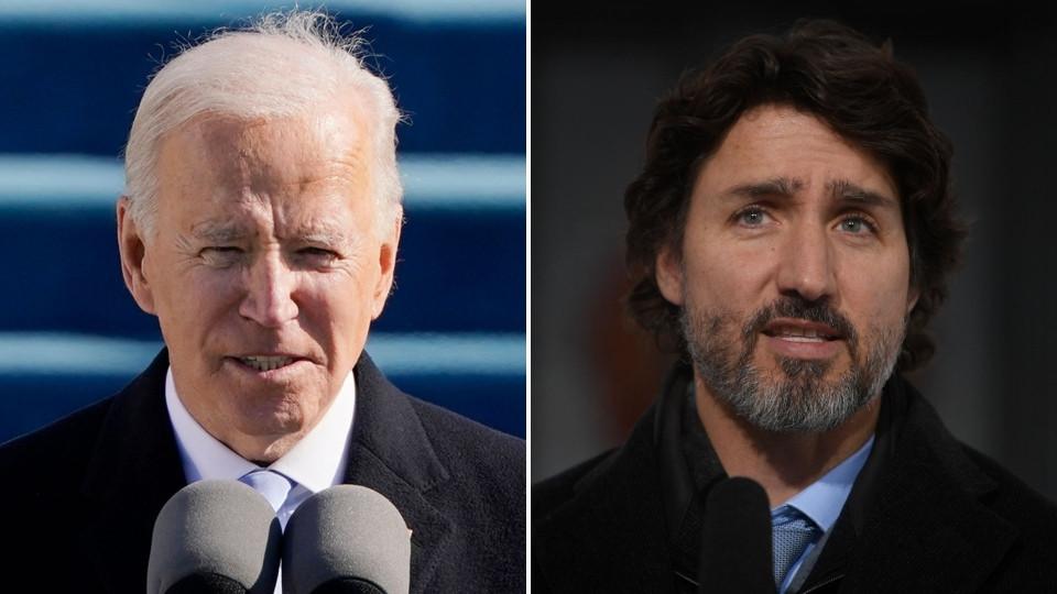 El presidente estadounidense Joe Biden, izquierda, y el primer ministro Justin Trudeau se ven en esta imagen combinada.