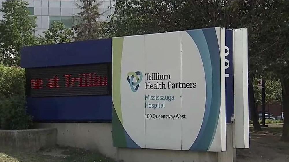 Trillium Health Partners cartel fuera del hospital de Mississauga.