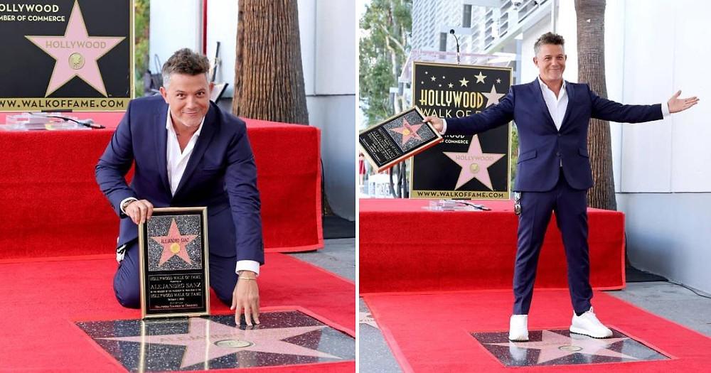 El cantante español Alejandro Sanz recibe su estrella en Hollywood.