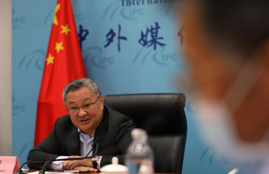 Fu Cong, director general del departamento de control de armas del Ministerio de Relaciones Exteriores de China, habla en una conferencia de prensa sobre cuestiones relacionadas con el seguimiento del origen de COVID-19, en Beijing, China, el 25 de agosto de 2021.