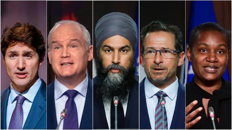 El líder liberal Justin Trudeau, izquierda, el líder del Partido Conservador de Canadá, Erin O'Toole, centro izquierda, el líder del NDP Jagmeet Singh, centro, el líder del Bloc Québécois Yves-François Blanchet y la líder del Partido Verde Annamie Paul.