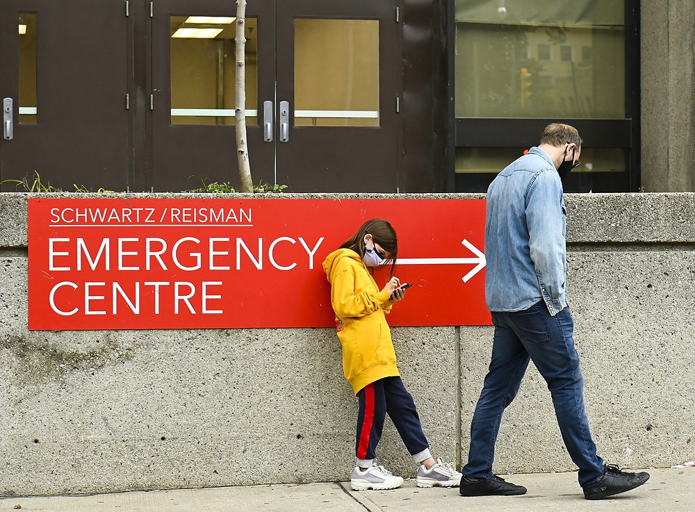 Centro de evaluación de COVID en Mount Sinai Hospital, Toronto.