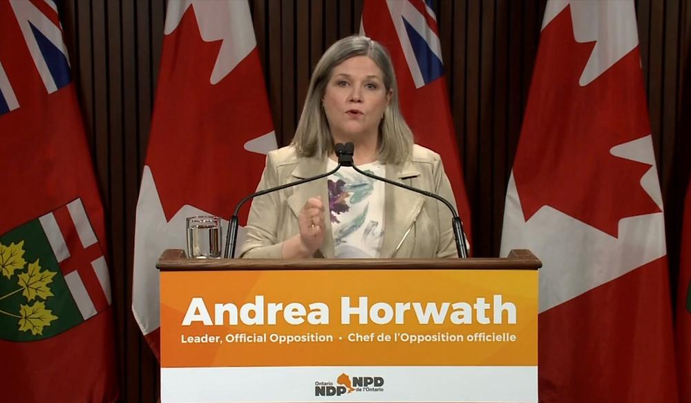 Andrea Horwath, líder del NDP.