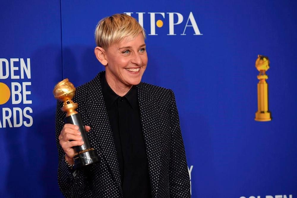 Ellen DeGeneres, ganadora del premio Carol Burnett, posa en la sala de prensa de la 77a entrega anual de los Globos de Oro en el Hotel Beverly Hilton el domingo 5 de enero de 2020 en Beverly Hills, California.