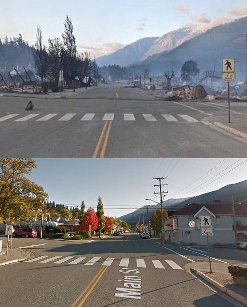 La imagen de arriba muestra una parte del poblado de Lytton que fue destruida por el feroz incendio forestal. A continuación se muestra cómo se veía esa área antes.
