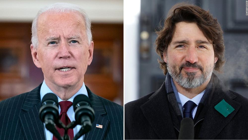 Biden habla con Trudeau y se compromete a enviar vacunas COVID-19 adicionales a Canadá.