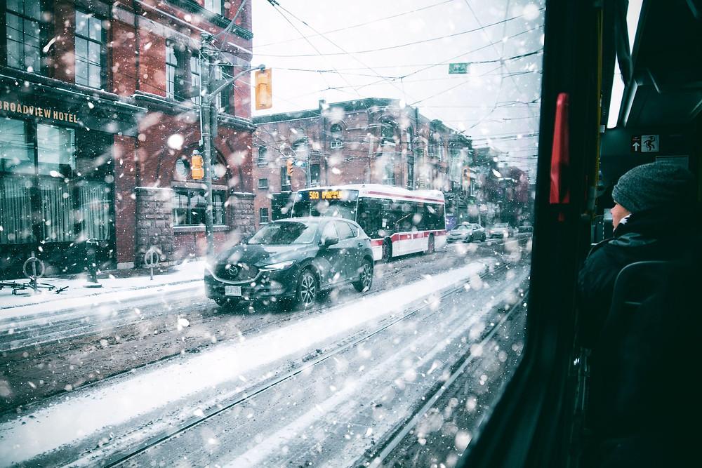 Una mañana nevada para viajar a Toronto el miércoles.