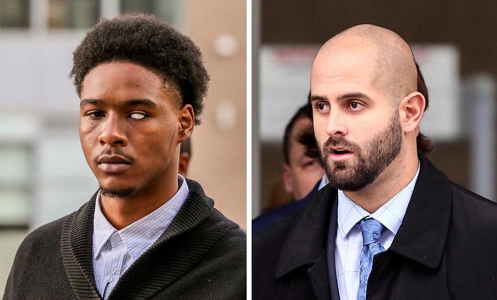 Dafonte Miller, izquierda, y la policía de Toronto Const. Michael Theriault, a la derecha, se ve afuera del juzgado de Oshawa