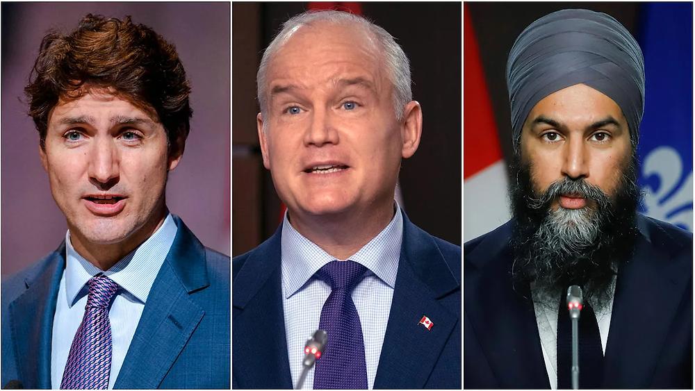 El líder liberal Justin Trudeau, a la izquierda, el líder del Partido Conservador de Canadá, Erin O'Toole, al centro, y el líder del NDP, Jagmeet Singh.