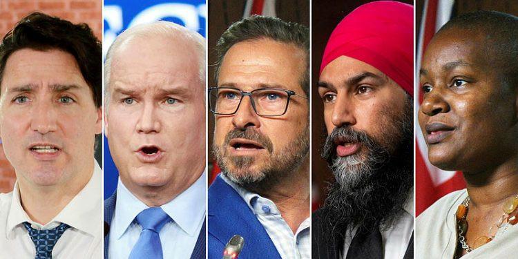 El primer ministro Justin Trudeau, el líder conservador Erin O'Toole, el líder del NDP Jagmeet Singh, el líder del Bloc Québécois, Yves-François Blanchet, y la líder del Partido Verde, Annamie Paul.